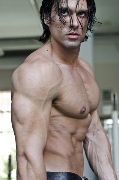 Muscular Man Shirtless, Profile View