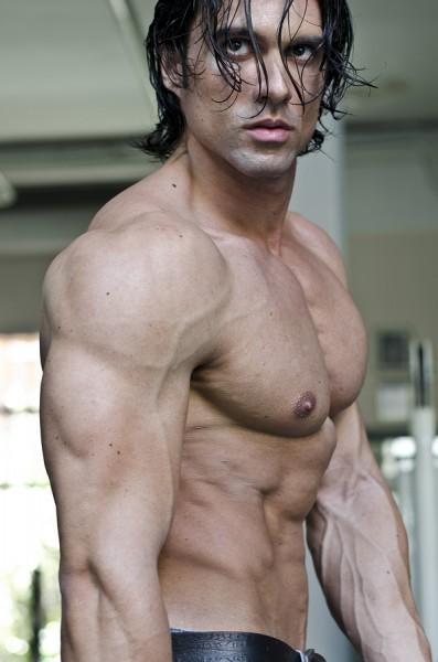 Muscular Man Shirtless, Profile View