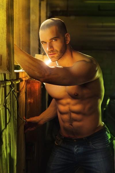 Super sexy shirtless muscular macho man