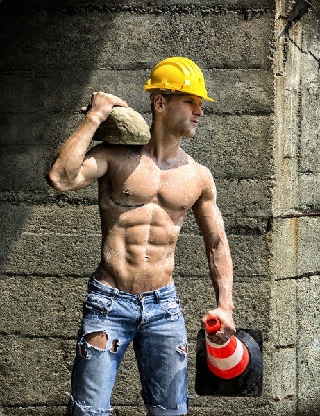 Handsome, Muscular Construction Worker Shirtless Outdoor