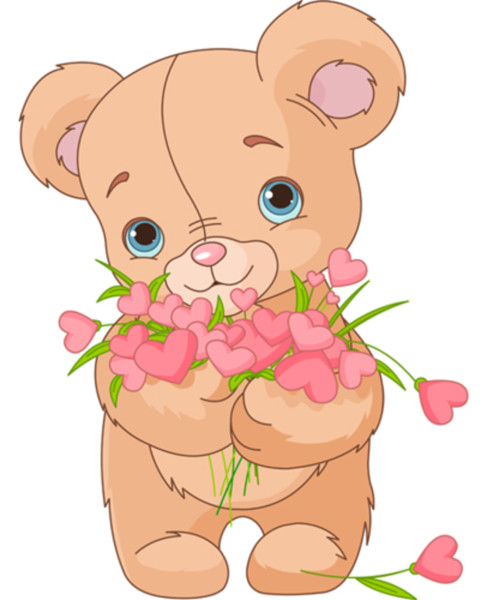 Cute little Teddy bear giving a bouquet made of hearts