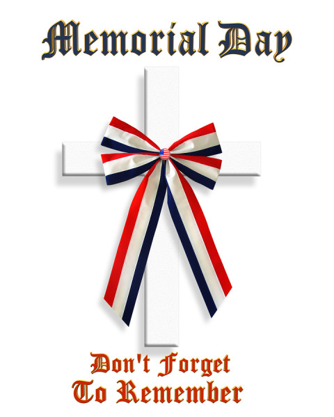 3D Image and Illustration patriotic composition for Memorial day graphic stars and stripes with American Flag ribbon and text.