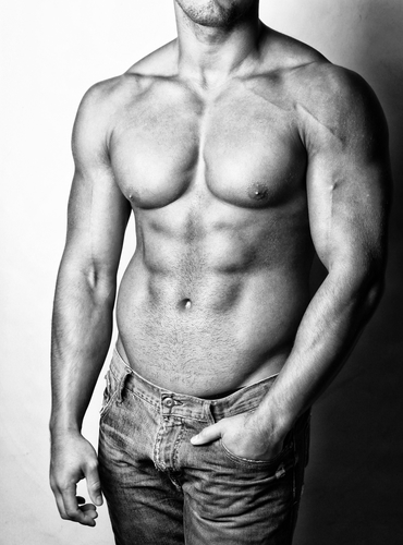 Image of hot and shirtless male body in jeans